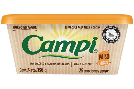 Producto de margarina esparcible paisa de Campi para desayunos